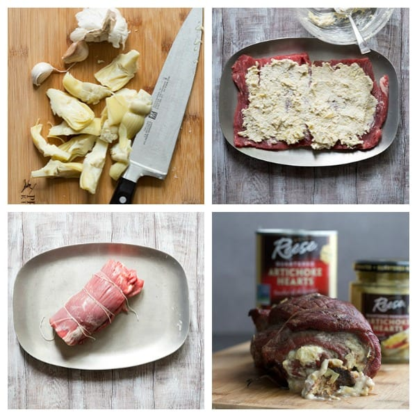 How to make stuffed flank steak - process shots from artichoke stuffed flank steak recipe