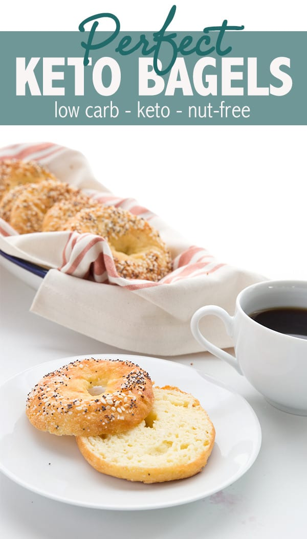 Keto bagels with coconut flour! This nut-free version of the fathead dough makes fabulous bagels that are truly chewy and delicious. They are easy to make and take only 5 basic ingredients. Low carb bagels for breakfast! #keto #lowcarb #ketodiet #fathead #fatheaddough #coconutflour #easyketo