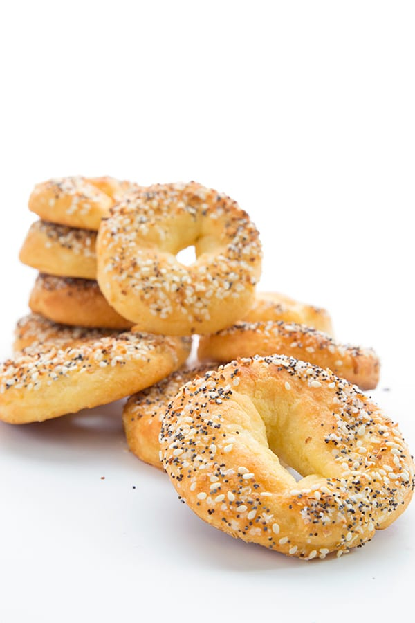 Low carb keto bagels in a pile.