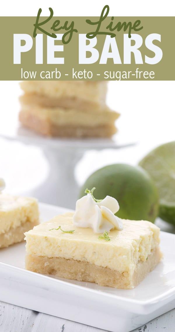 Creamy keto key lime bars with a tender almond flour short bread crust. Key lime pie gets a low carb, sugar-free makeover! #lowcarb #keto #ketorecipes #ketodessert #keylime #keylimepie