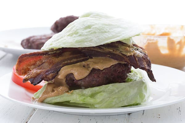 Peanut Butter and Bacon Burger on a lettuce bun