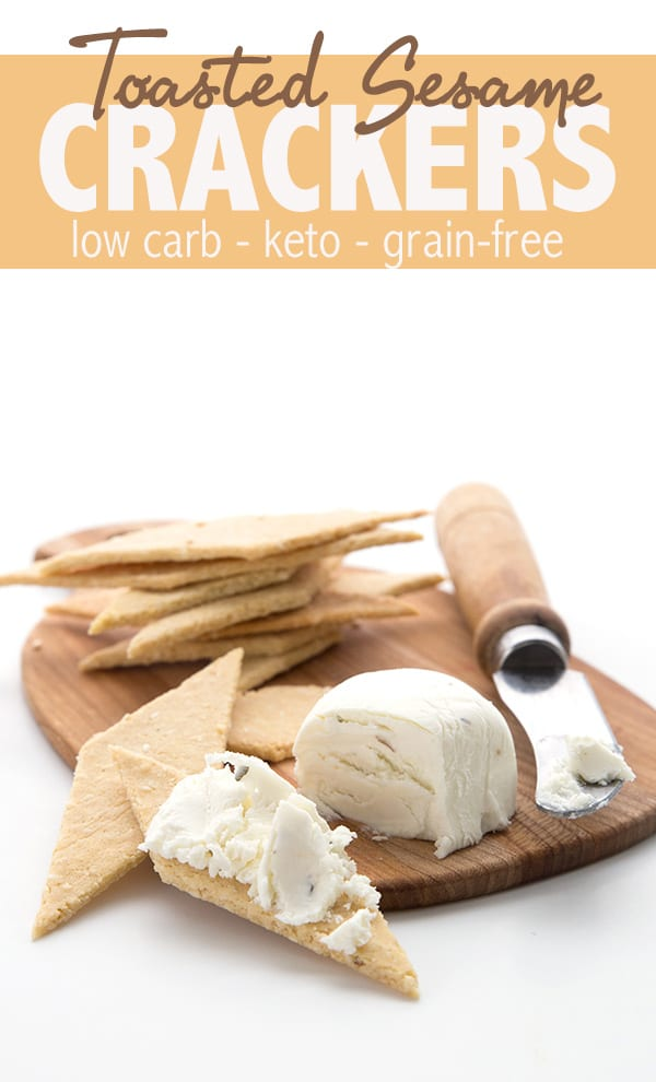 These easy keto sesame crackers are destined to become your new fave low carb snack! Made with sesame flour and less than 3g net carbs per serving. #lowcarb #keto #ketorecipes #easyketo #sesame #sesamecrackers