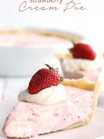 Keto Strawberry Cream Pie slices with the pie in the background