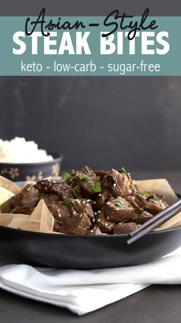 These easy Asian Steak Bites take only minutes to make and everyone loves them. A great keto dinner recipe the whole family will enjoy. #ketorecipes #steakbites #steak #ketodiet #coconutaminos #paleofriendly #dairyfree #lowcarb