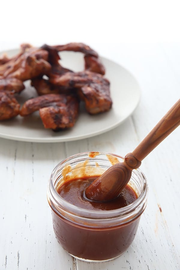 Sugar Free BBQ Sauce with a plate of chicken wings