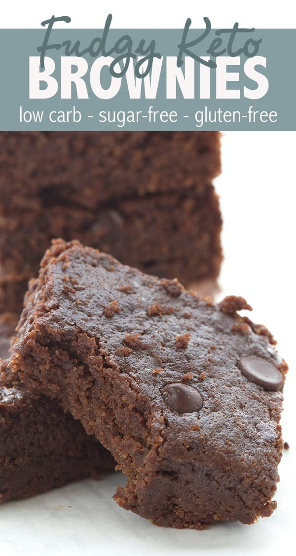Super fudgy keto brownies. This easy one-bowl recipes results in deliciously fudgy and chewy brownies that no one will guess are low carb and gluten-free! Check out the secret ingredient. #lowcarb #ketorecipes #ketodesserts #easyketo #sugarfree #lchf #glutenfreerecipes #sugarfreerecipes