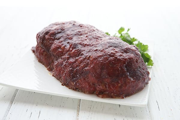 Stuffed BBQ Meatloaf on a white plate
