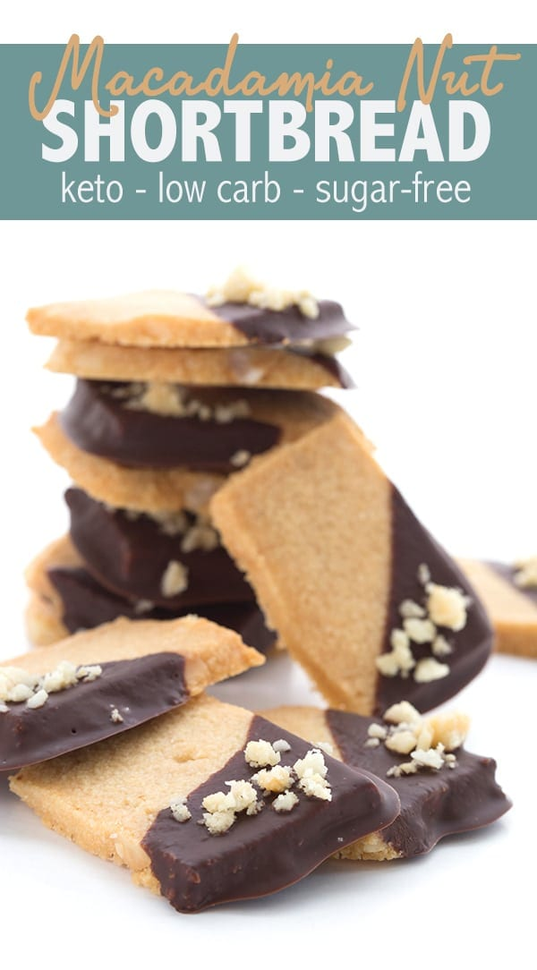 Delicious keto shortbread cookies studded with macadamia nuts and dipped in dark sugar-free chocolate. A low carb tribute to the wonderful people and places of Australia! #ketorecipes #ketodesserts #lowcarbcookies #sugarfreerecipes #macadamianuts #shortbread