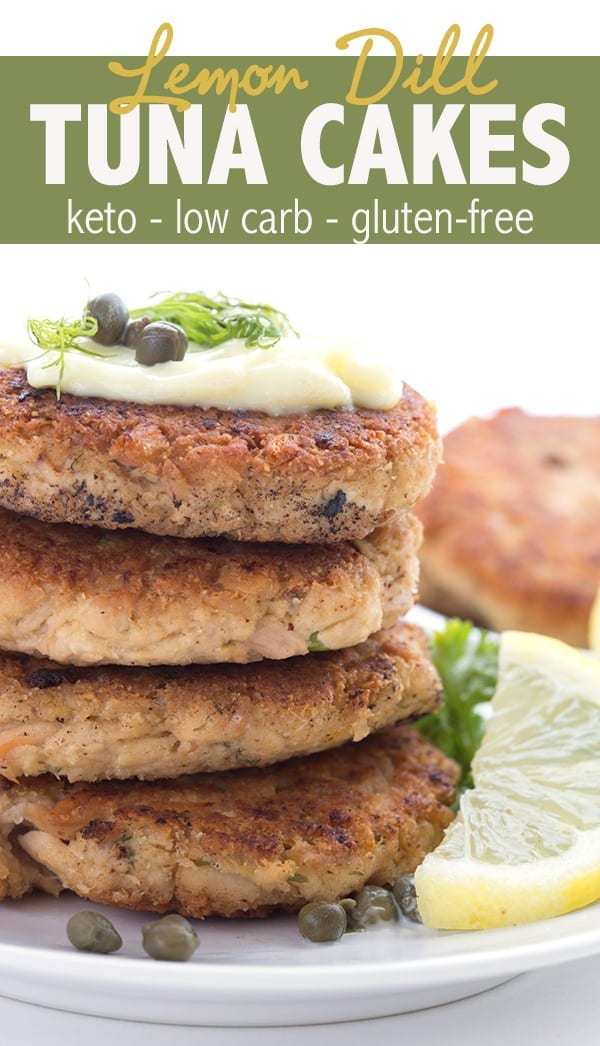 Lemon Dill Tuna Burgers - delicious low carb tuna patties with a bright summery flavor. My kids loved them! So easy to make. #keto #ketodiet #tunarecipes #lowcarb #tunaburgers #ketorecipes #familyfriendly