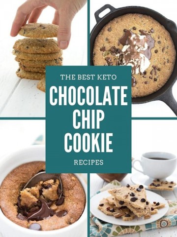 Collage of 4 keto chocolate chip cookie Recipes