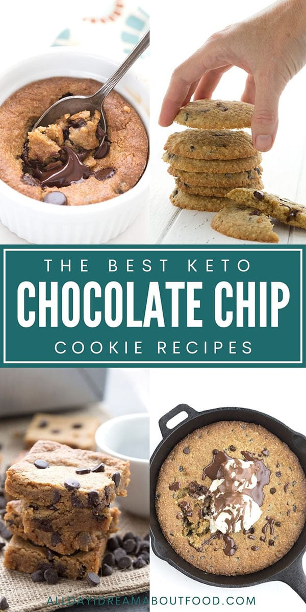 Pinterest collage for keto chocolate chip cookies
