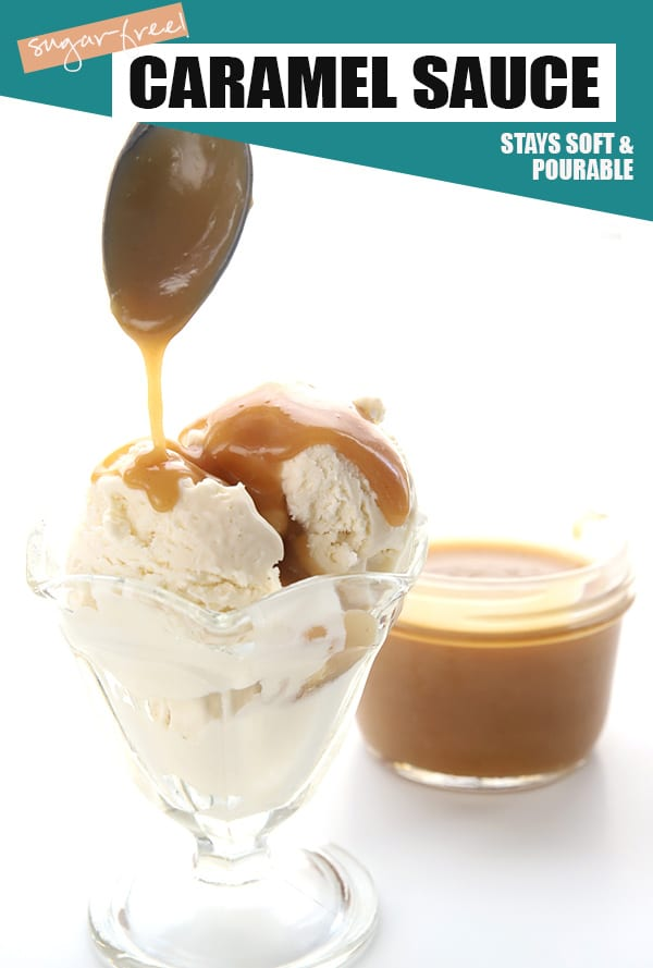 Sugar-free caramel pouring from a spoon onto keto vanilla ice cream