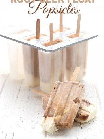 Sugar-free root beer float popsicles in front of a popsicle mold