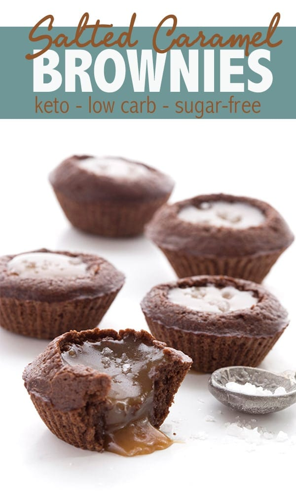 Sweet little keto brownie cups filled with sugar free caramel sauce that stays soft! This is a low carb treat you don't want to miss. #ketorecipes #ketodiet #lowcarbrecipes #ketodessert #brownies #browniebites #saltedcaramel #sugarfree