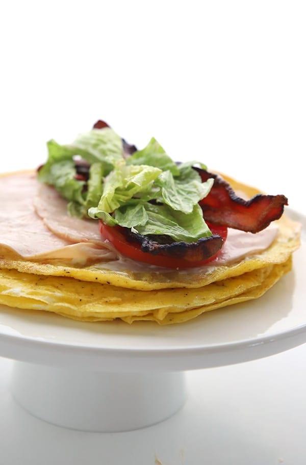 Easy keto egg wraps with turkey, bacon, tomato and lettuce