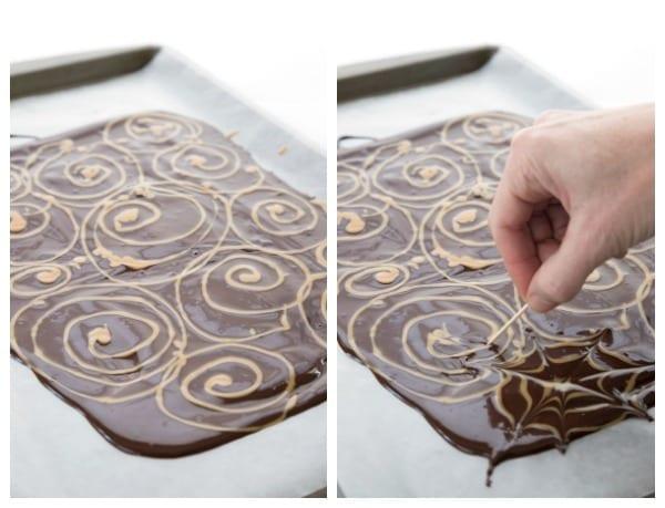 Drawing peanut butter spirals onto dark chocolate to make spider web bark.