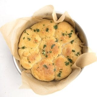Keto dinner rolls baked in a round pan