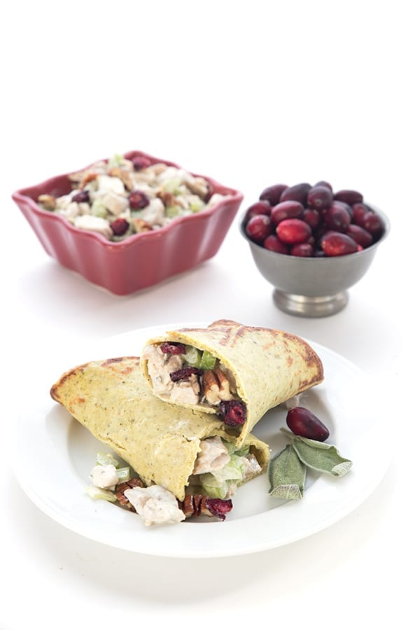 Turkey salad with cranberries, pecans, and sage