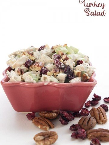 Keto Turkey Salad Recipe - leftover turkey salad in a red bowl with pecans and cranberries