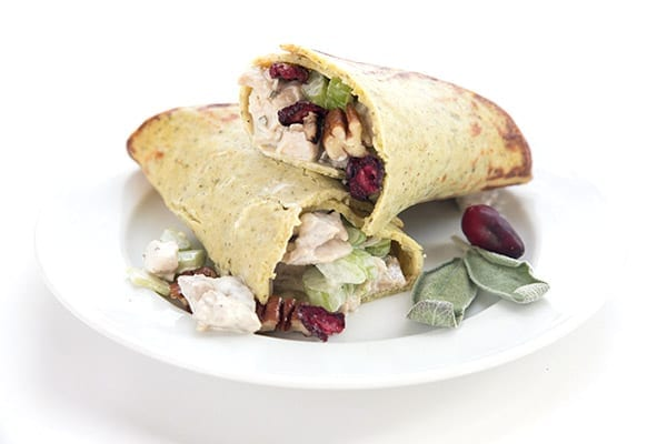 Easy turkey salad in low carb vegetable crusts on a white plate