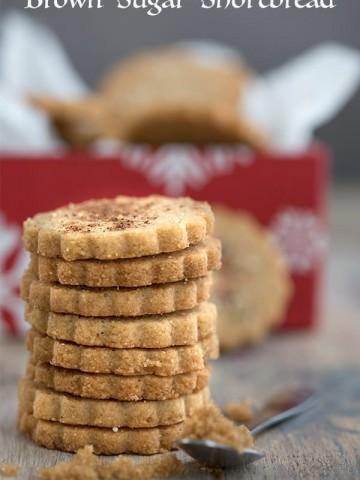 Keto Brown Sugar Shortbread in a stack - sugar free shortbread cookies