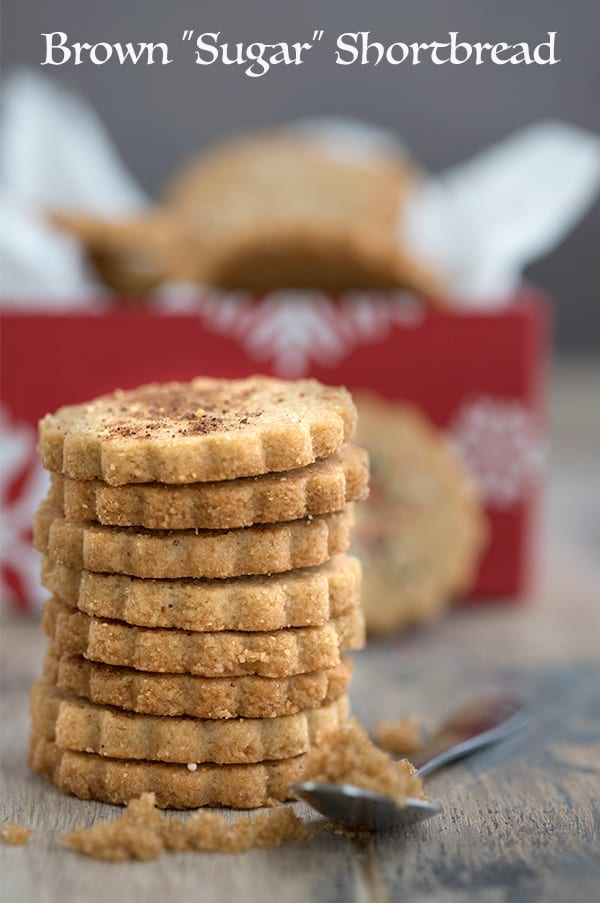 Keto Brown Sugar Shortbread in a stack - sugar free shortbread cookies