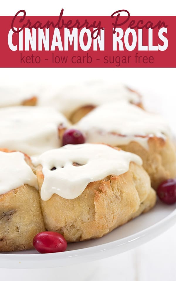 Keto Cranberry Cinnamon Rolls up close