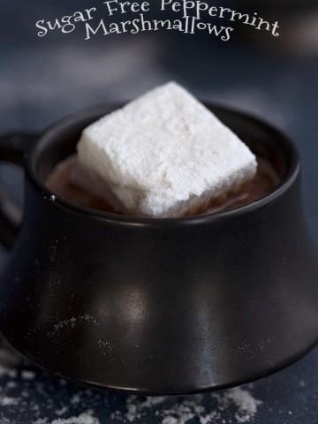 Sugar Free Marshmallows in a mug of keto hot chocolate
