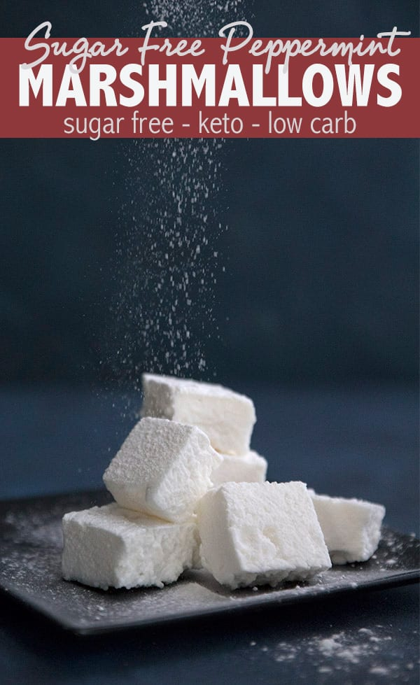 Keto Marshmallow Recipe! Homemade sugar free marshmallows are easy to make and so fun to eat. These keto friendly treats are perfect in hot chocolate and delicious on their own. And they are almost completely carb free! via @dreamaboutfood #ketorecipes #marshmallows #easyketo #ketodiet #sugarfree