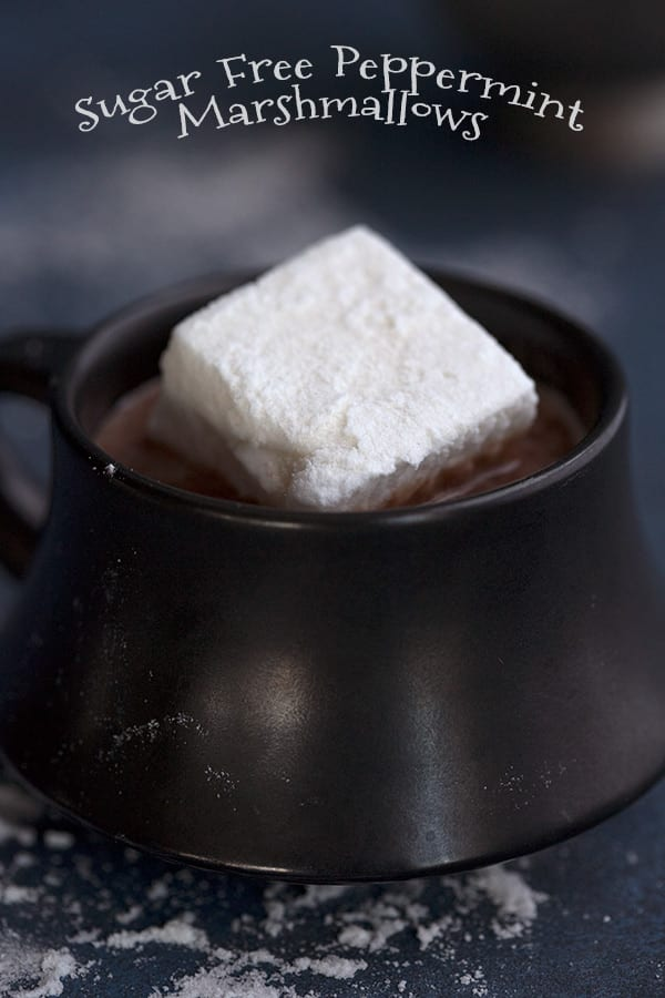 Sugar Free Marshmallows in a mug of keto hot chocolate