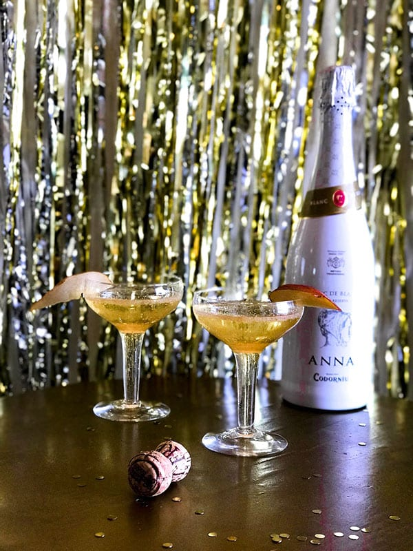 Pear champagne cocktails