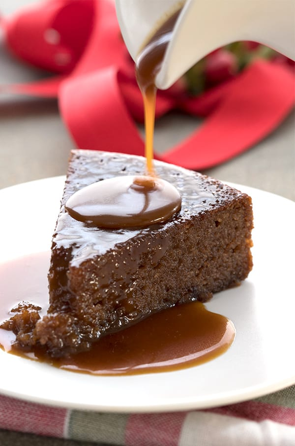 A gooey slice of Instant Pot Sticky Toffee Pudding