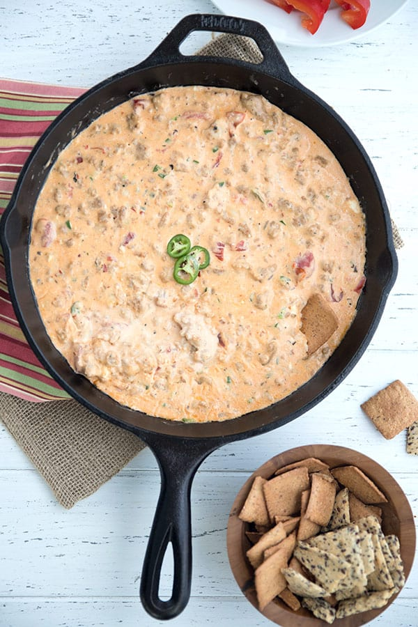 Top down photo of keto sausage dip in a cast iron skillet