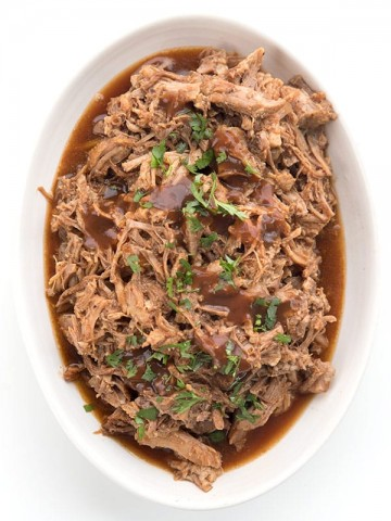Top down photo of a large bowl of Instant Pot Pulled Pork