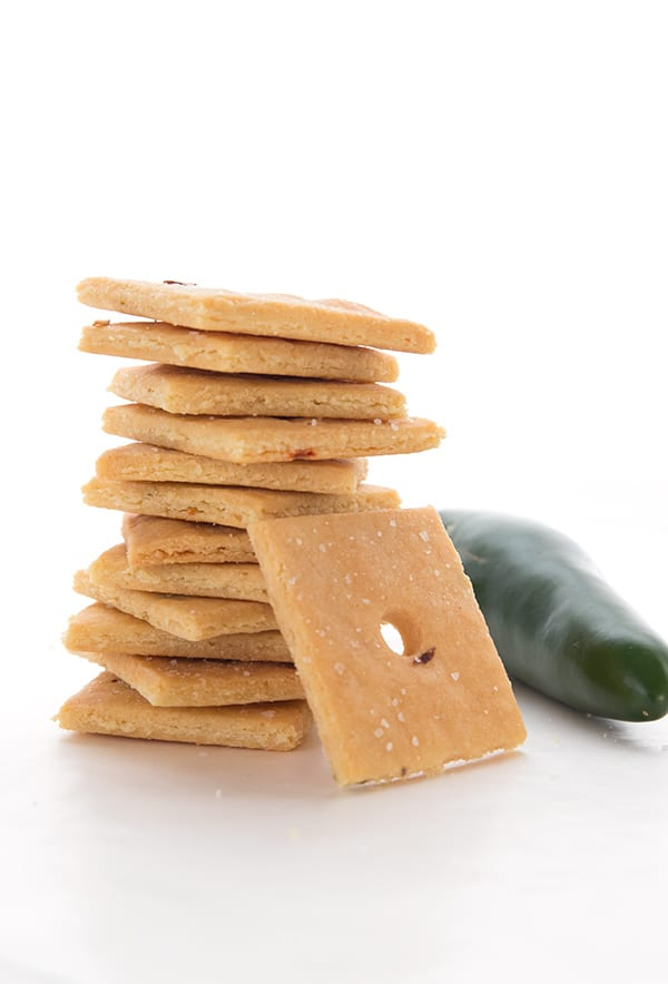A stack of keto crackers