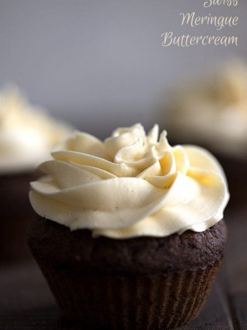 Vanilla Sugar Free Frosting on a chocolate cupcake. Keto and low carb recipe.