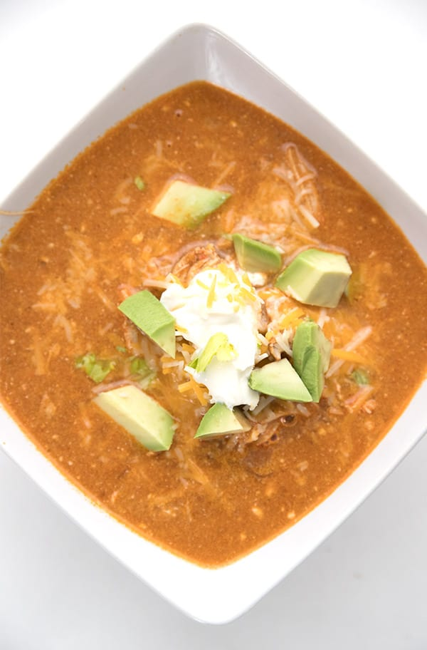 Top down photo of easy low carb chicken enchilada soup