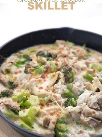 Keto Chicken Broccoli Casserole in a cast iron skillet