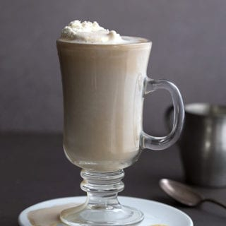 Sugar Free White Choclate Mocha in a glass with whipped cream