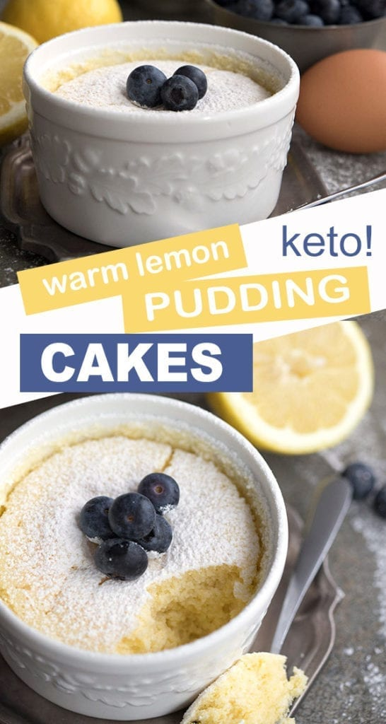 Low carb sugar-free lemon pudding cake