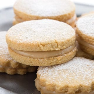 Close up of low carb alfajores cookies on a plate