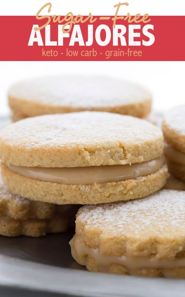 Sugar free alfajores with a filling of low carb dulce de leche