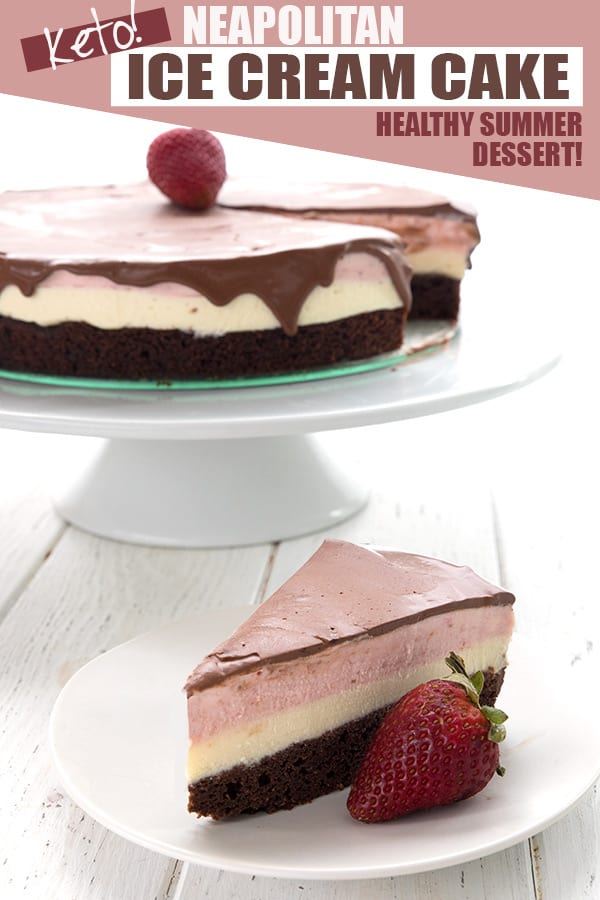 Neapolitan Ice Cream Cake slice on a white place with a strawberry