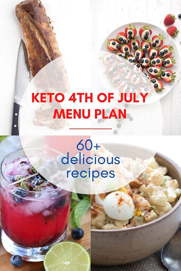 Titled Image: Keto 4th of July Menu Plan with 60+ Delicious Recipe. A collage of recipes in behind the title