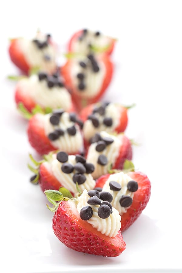 Keto stuffed strawberries with cheesecake and chocolate chips