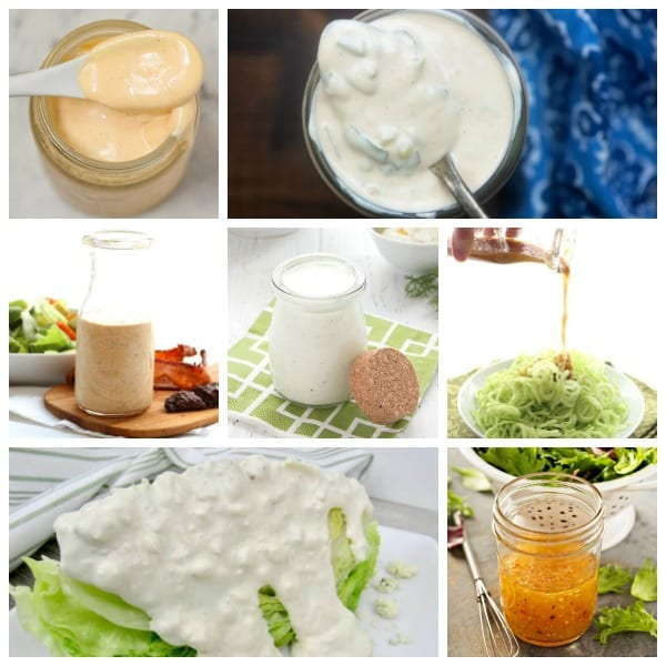 Collage of homemade keto salad dressings