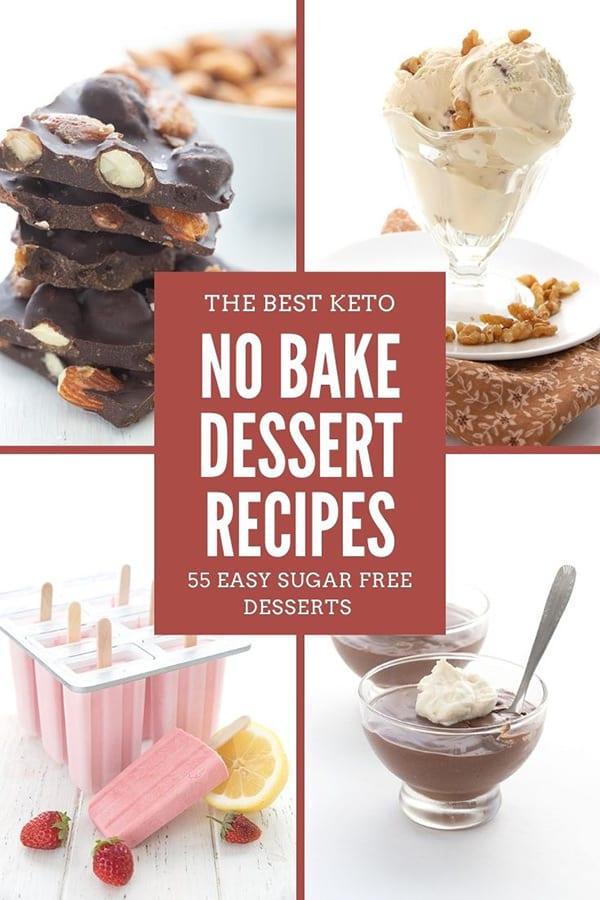 Titled collage of no bake keto desserts