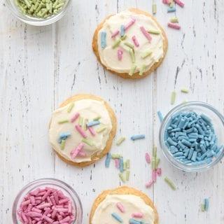 Keto sugar cookies with frosting and sugar free sprinkles