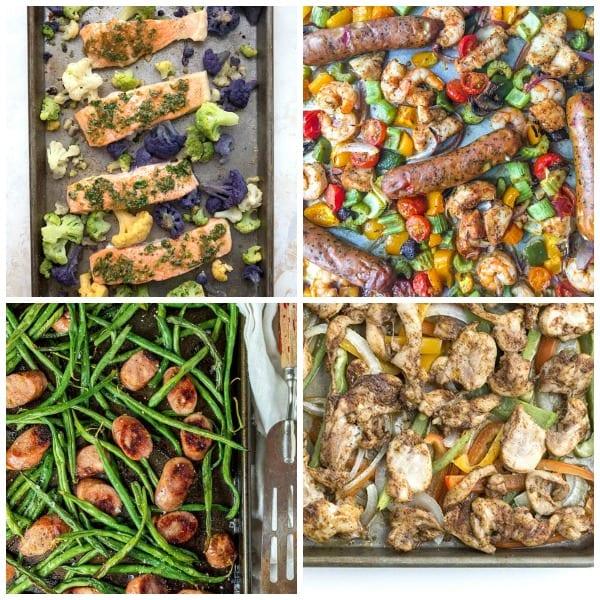 Sheet pan dinner collage