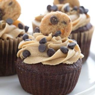 Close up shot of keto cookie dough cupcakes